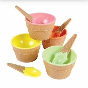 ICE CREAM CONE BOWL & SPOON